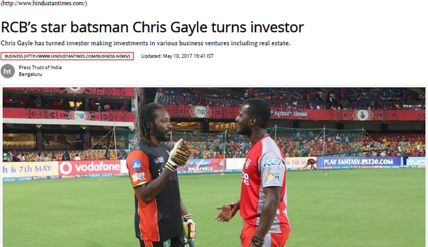 RCB's star batsman Chris Gayle turns investor - Published by HindustandTimes