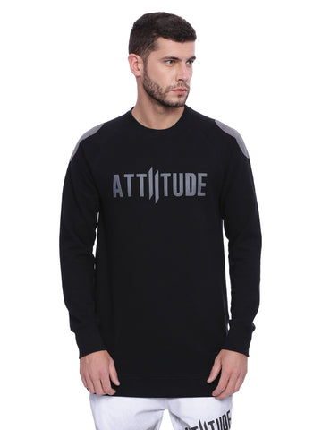 Attiitude Black Suede Patched Sweatshirt