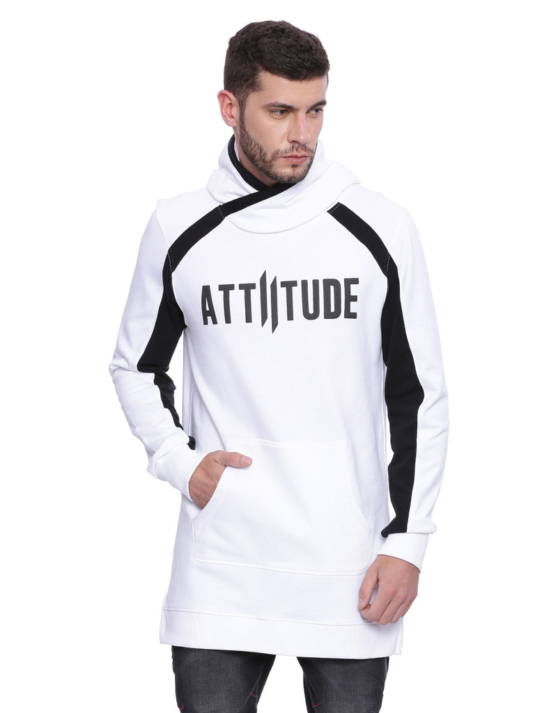 Attiitude White Overlapped Styled Long line Hoodie