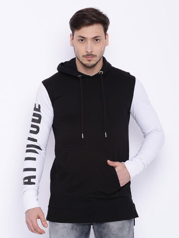 Attiitude printed sleeve black hoodie with white sleeve
