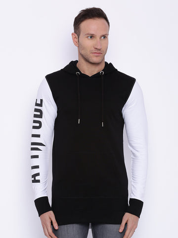 Attiitude printed sleeve black and white hoodie