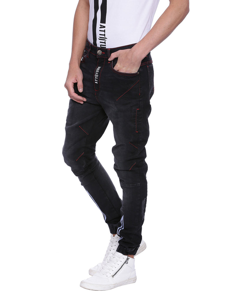 Attiitude Black Denim with Contrast Stitch