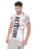 Attiitude white Regular hem t-shirt with Tie & Die wash
