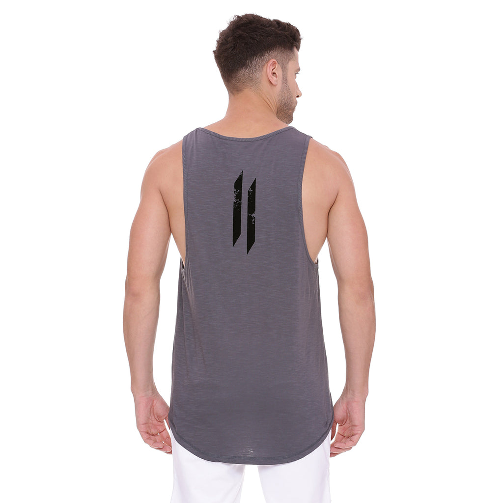 Attiitude Tank Top Grey with Black flock print