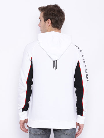 Attiitude White Panel Detailed Hoodie