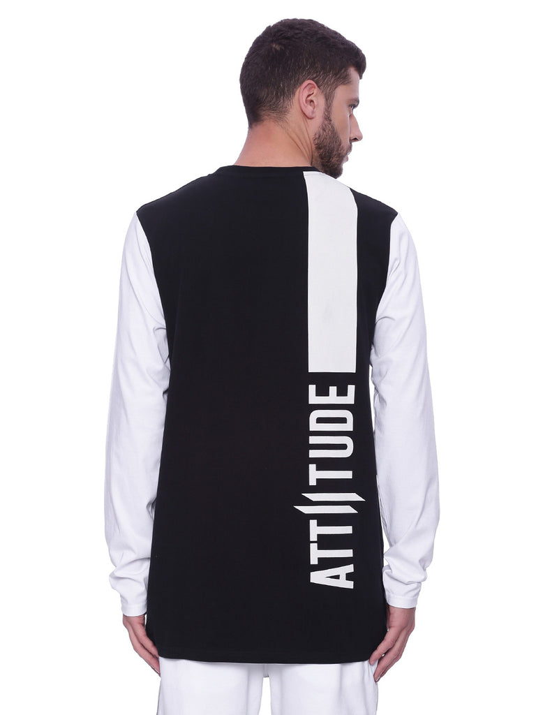 Attiitude Hollow Printed Black & White T-shirt