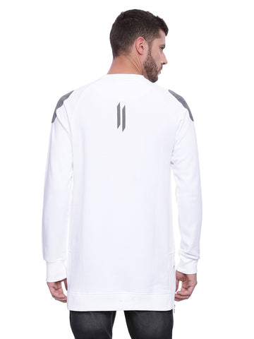 Attiitude White Suede Patch Sweatshirt