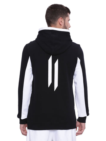 Attiitude Black Overlapped Styled Long line Hoodie