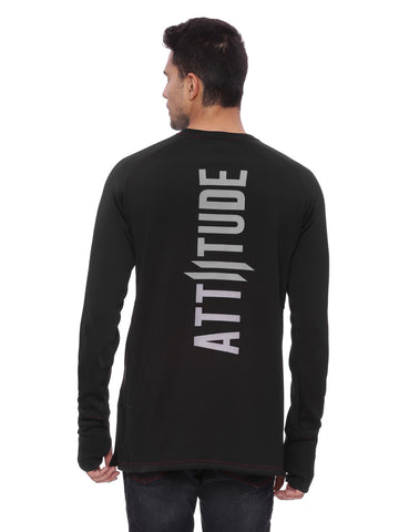 Attiitude Black Sweatshirt  with Silicon Print