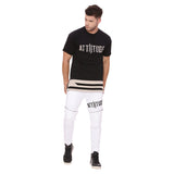 Attiitude Slim Fit White Quilted Joggers