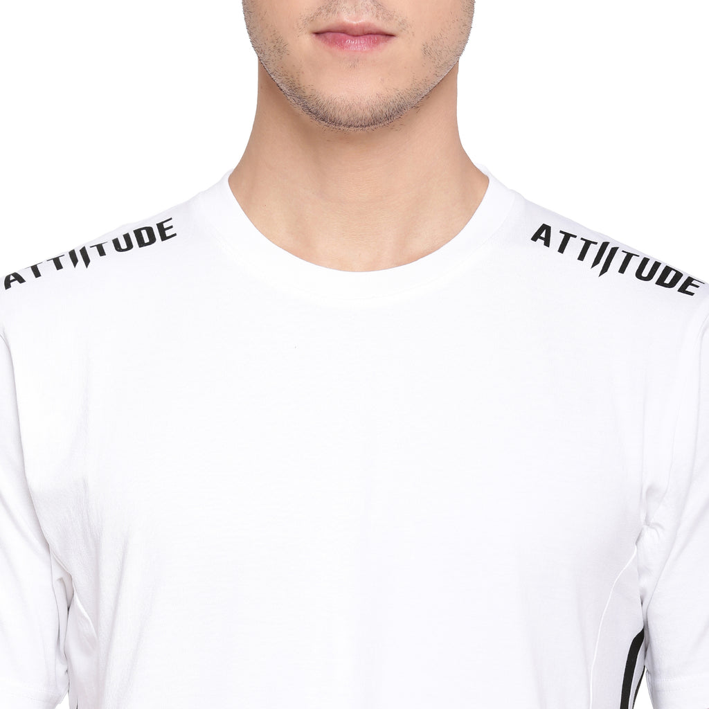 Attiitude White T-Shirt With Cut-N-Sew Panels