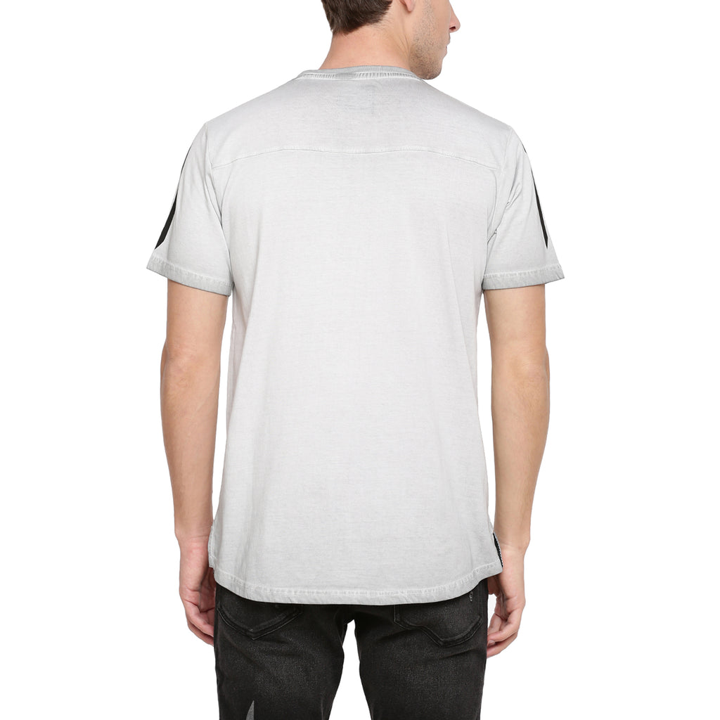 Attiitude Light Grey T-Shirt With Vertical Pigment Print