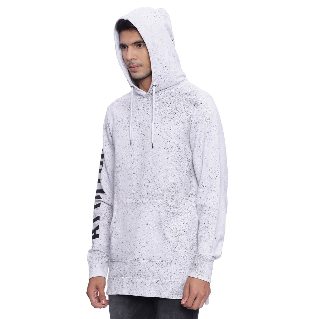 Attiitude White Longline Hoodie With Black Splatter Treatment