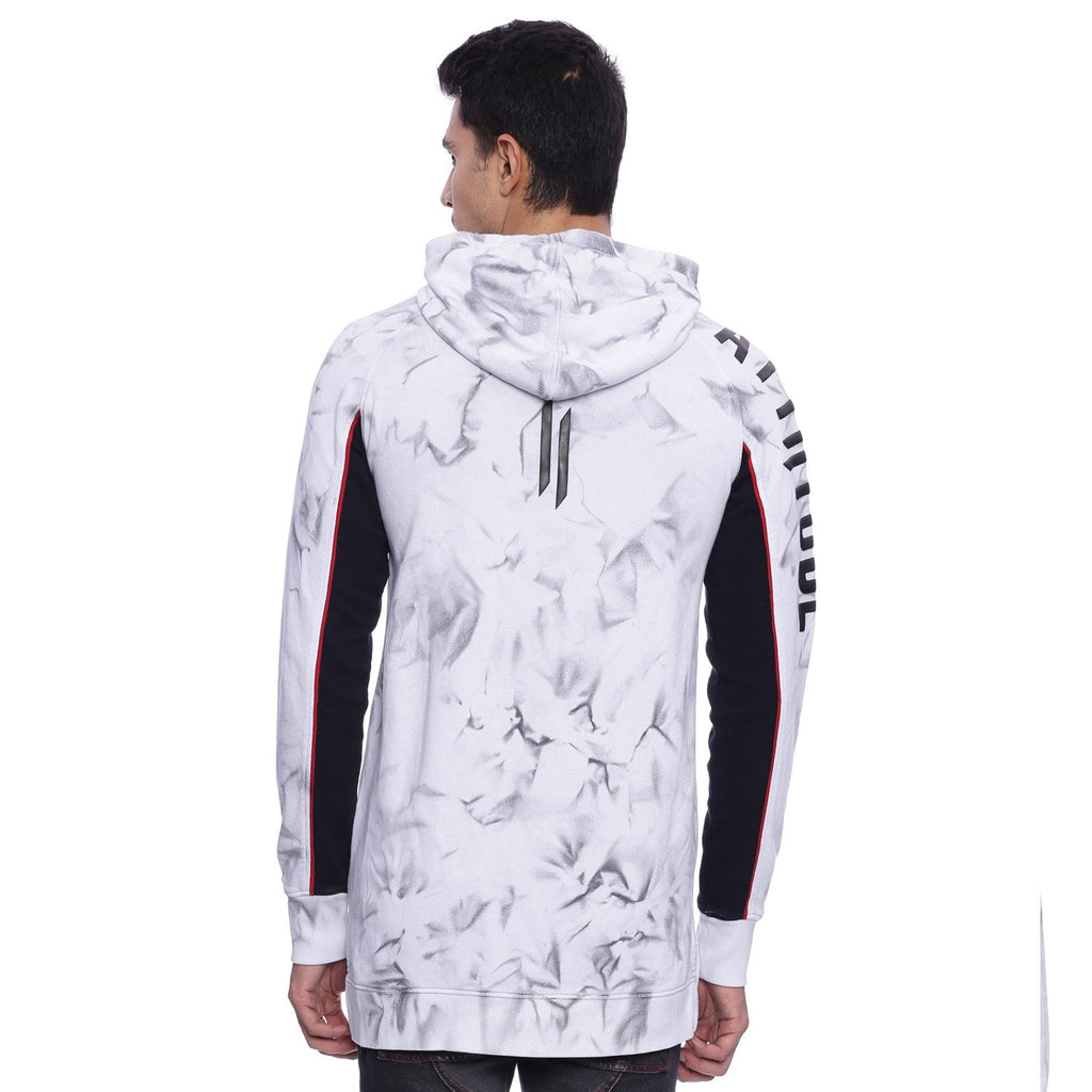Attiitude White Hoodie With Black Spray Treatment