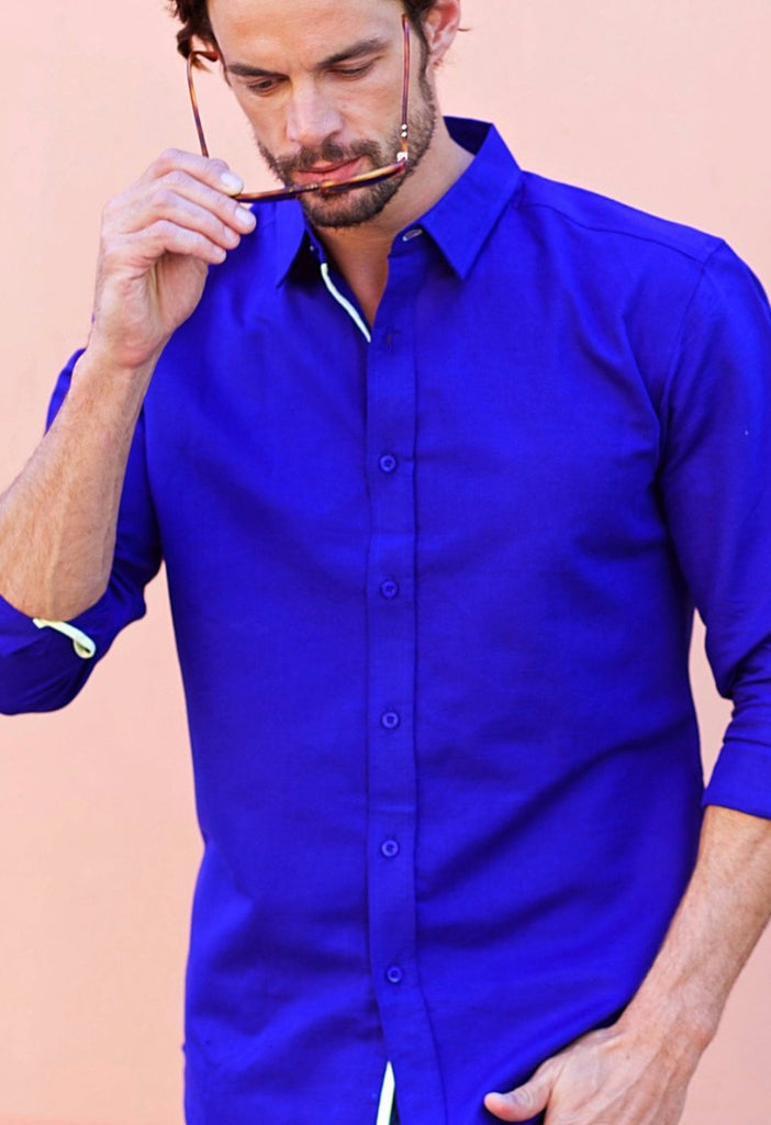 ea738ee846a9 Dark Blue Cotton   Linen blend Men s Shirt