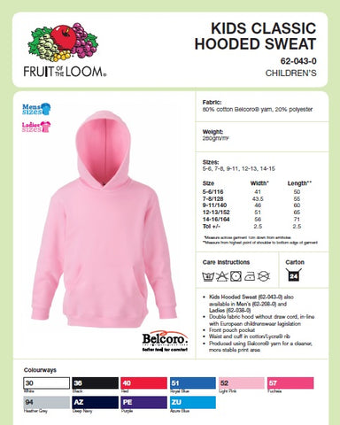 Kids Hooded Top Size Guide