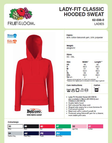 Ladies Hooded Top Size Guide