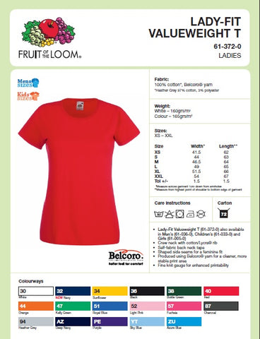 Ladies Fit T-Shirt Size Guide