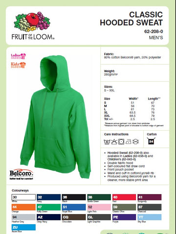 Mens Hooded Top Size Guide