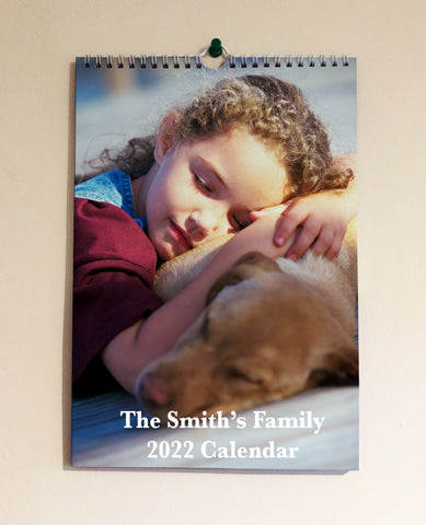 2022 Personalised Family, Friends, Pets Photo Hanging Wall Calendar