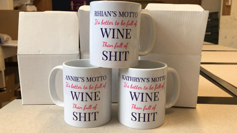 Motto it's better to be Full of Wine, Vodka or Gin than shit Personalised Mug & White Box