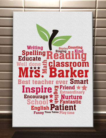 Apple Word Art Personalised to your Teacher Canvas Print - Teachers Gifts