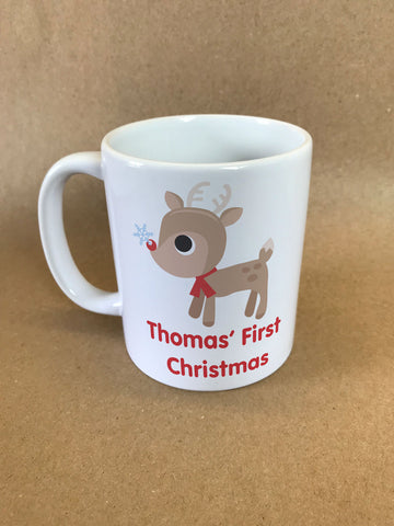 BB01 - Cute Reindeer First Christmas Personalised Christmas Mug & White Gift Box