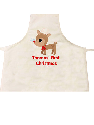 BB01 - Cute Reindeer First Christmas Personalised Apron