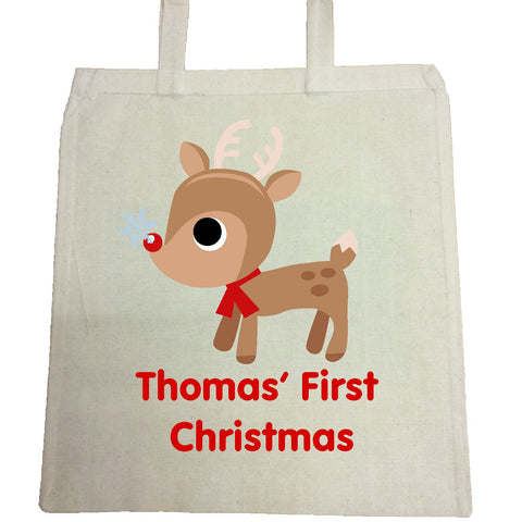 BB01 - Cute Reindeer First Christmas Personalised Canvas Bag for Life