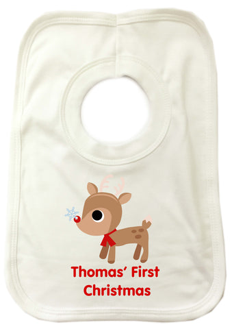 Personalised Cute Reindeer Babies First Christmas Baby Bib for Boys and Girls
