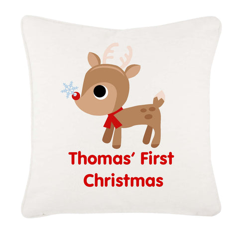 Cute Reindeer First Christmas Personalised Canvas Cushion Cover