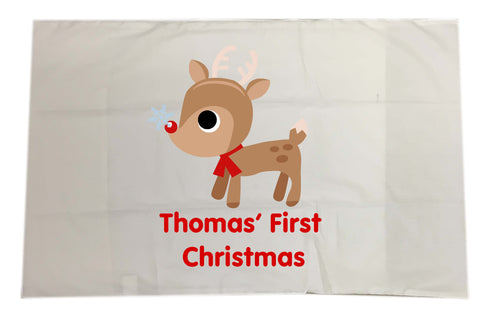 BB01 - Cute Reindeer First Christmas White Pillow Case Cover