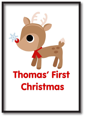 BB01 - Cute Reindeer First Christmas Personalised Print