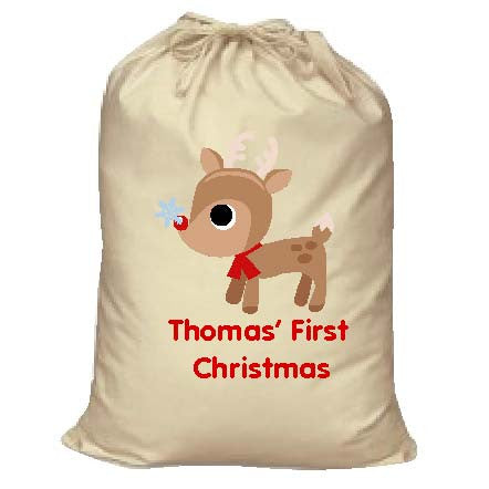 BB01 - Cute Reindeer First Christmas Personalised Canvas Santa Sack