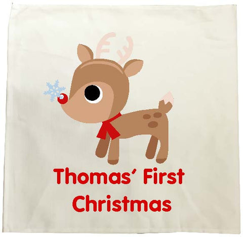 BB01 - Cute Reindeer First Christmas Personalised Tea Towel