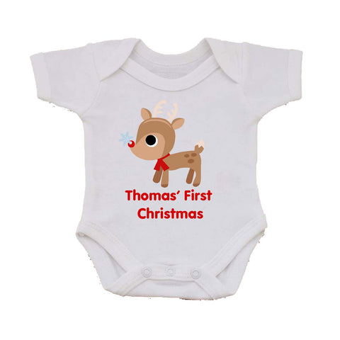 BB01 - Cute Reindeer First Christmas Personalised Baby Vest