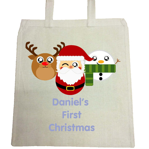 BB02 - Cute Round Personalised Reindeer, Santa and Snowman Christmas Canvas Bag for Life