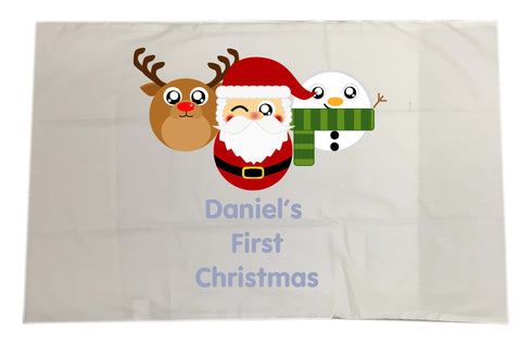 BB02 - Cute Personalised Reindeer, Santa & Snowman Christmas White Pillow Case Cover