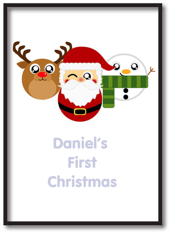 BB02 - Cute Christmas Personalised Reindeer, Santa and Snowman Christmas Print