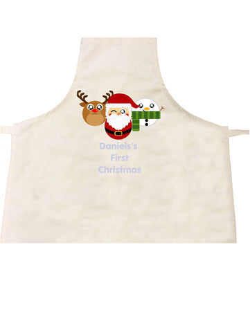 BB02 - Cute Round Christmas Personalised Reindeer, Santa and Snowman Christmas Apron