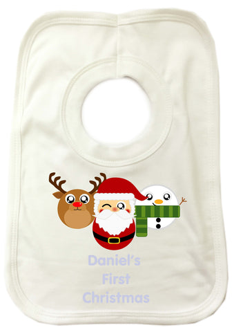 BB02 - Cute Round Personalised Reindeer, Santa and Snowman Christmas Baby Bib