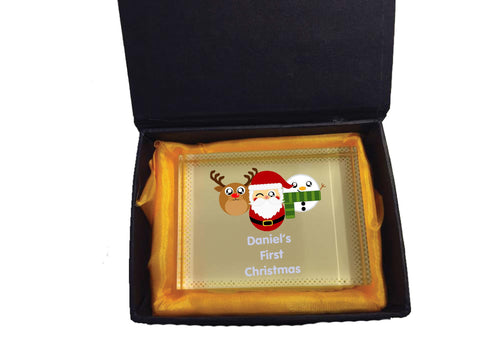 BB02 - Cute Personalised Reindeer Santa & Snowman Christmas Crystal Block