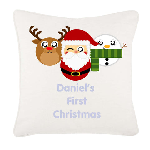 Cute Round Personalised Reindeer, Santa and Snowman Christmas Cushion Cover