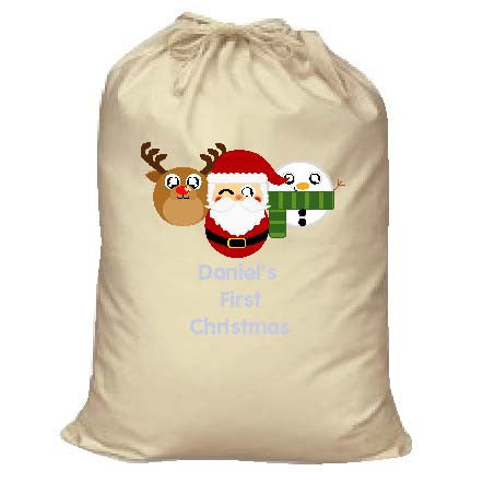 BB02 - Cute Round Personalised Reindeer, Santa and Snowman Christmas Canvas Santa Sack