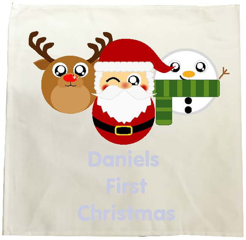 BB02 - Cute Christmas Personalised Reindeer, Santa and Snowman Christmas Tea Towel