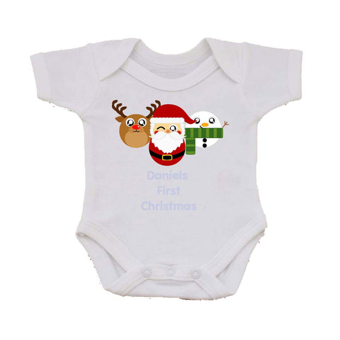 BB02 - Cute Round Personalised Reindeer, Santa and Snowman Christmas Baby Vest