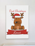 BB04 - Santa's Reindeer First Christmas Personalised Canvas Print