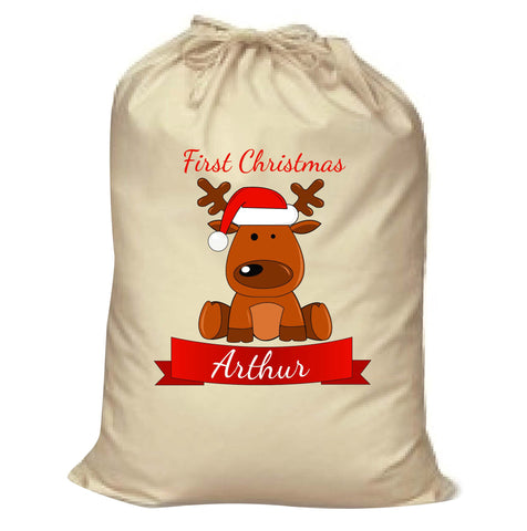 BB04 - Santa's Reindeer First Christmas Personalised Canvas Santa Sack