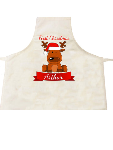 BB04 - Santa's Reindeer First Christmas Personalised Apron
