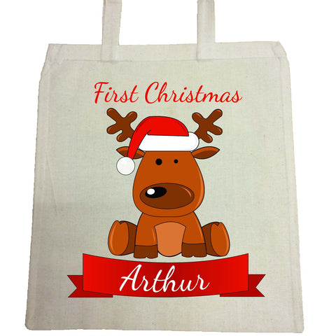 BB04 - Santa's Reindeer First Christmas Personalised Canvas Bag for Life